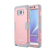 LONTECT  Samsung Galaxy Note 5 Case Hybrid Heavy Duty Shockproof Full-Body Protective Case Dual Layer PC and TPU cover shell color Rose Gold