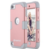LONTECT  Apple iPod Touch 6 Case Hybrid Heavy Duty Shockproof Full-Body Protective Case Dual Layer PC and TPU cover shell color Rose Gold